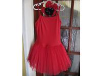 Dance Lucy Red Ballet Tutu Dress- Dancing Daisy- Adult Medium (10-12) - vgc- £5