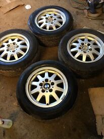 1999 BMW alloy wheels with 4 almost new matching tyres 205 60 15 fitment size 7jx15