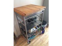 Ikea wooden and metal kitchen trolly Kensington