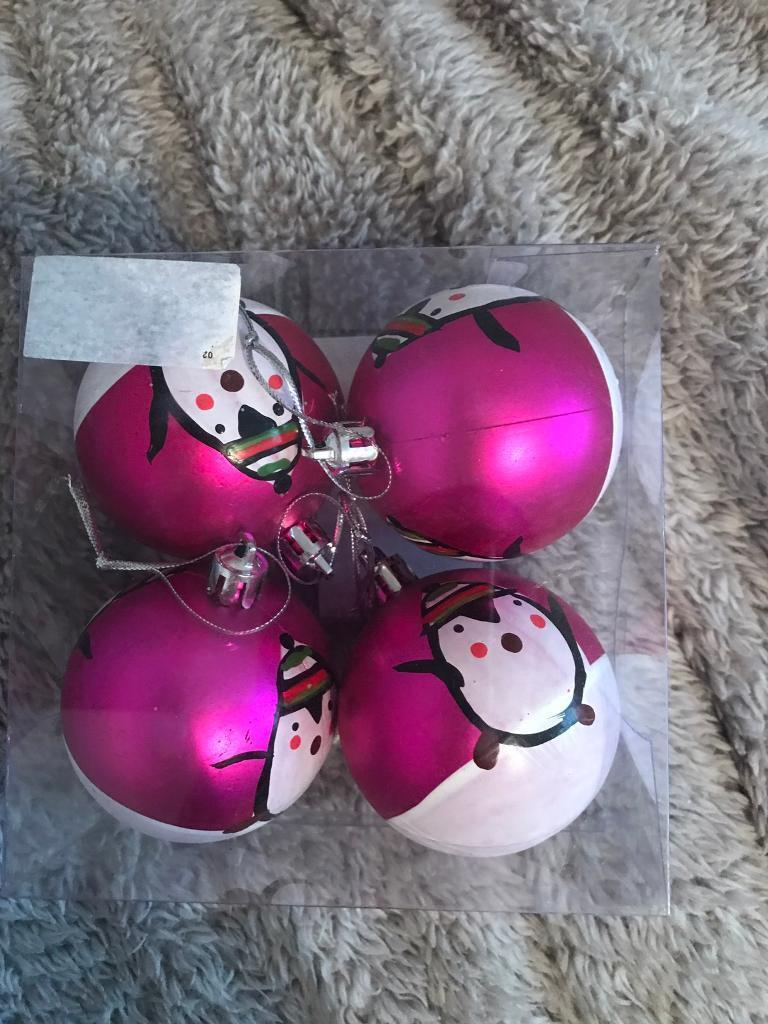 Brand new pink penguin Christmas tree baubles