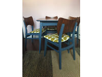 Dining Table & 4x Chairs with Orla Kiely Print Vintage Retro Mid-Century