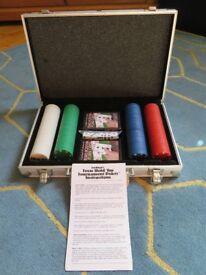 Full Poker Set in portable, metallic casing