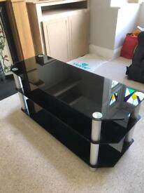 Glass TV stand (3 shelves)