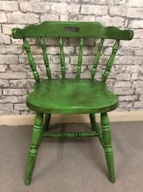 Solid pine captains chair, painted green and dark waxed