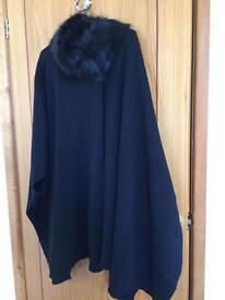 Black cape with fur collar