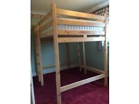 High sleeper cabin bunk double loft bed with 2000 pocket sprung mattress + two ladders 9 months old