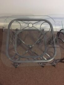 ** REDUCED** Modern Stylish Glass and Grey Metal Side Tables