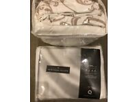 2x Northern Nights Double Bedding sets beige/white scroll