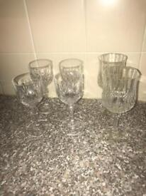 6 crystal cut class wine glasses