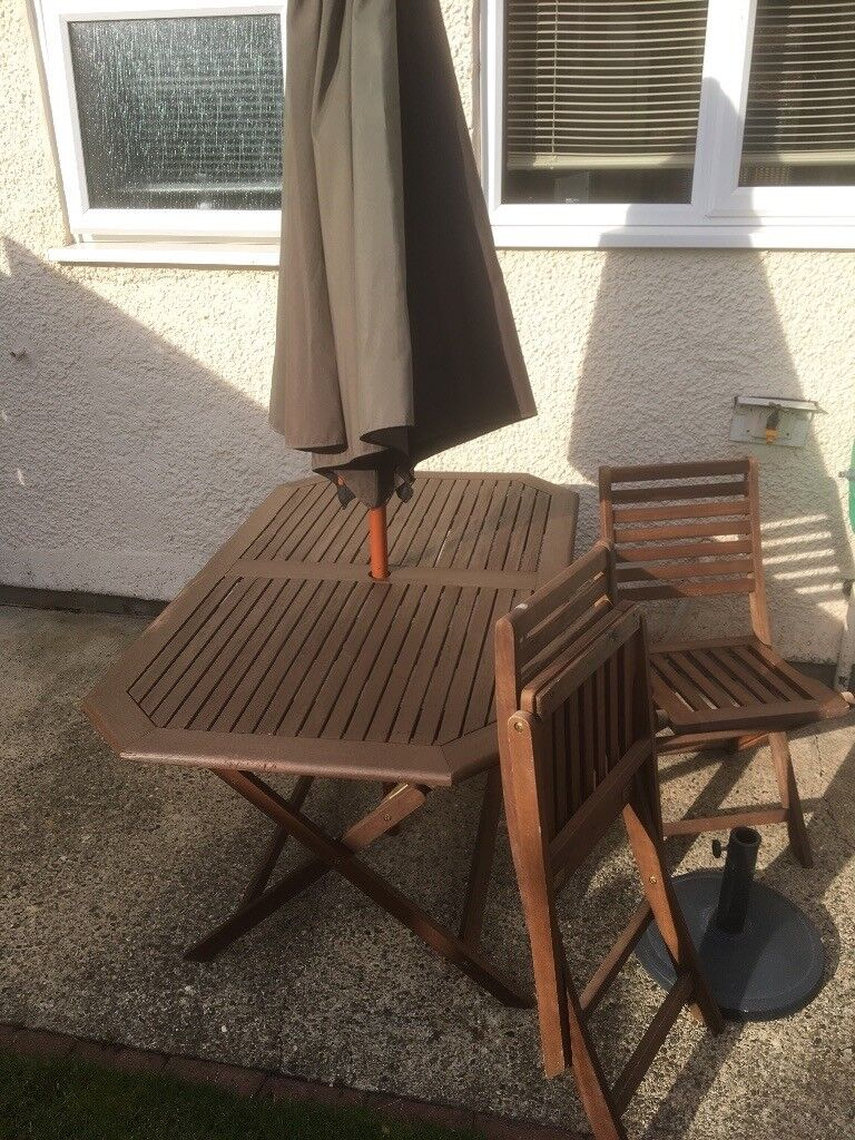 Wooden garden table 6 chairs parasol and base