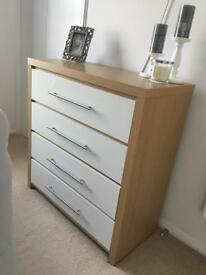 Light oak and white gloss chest of drawers and matching side tables