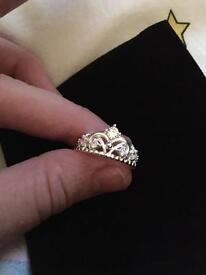 Sterling silver and crystal Tiara ring - size N