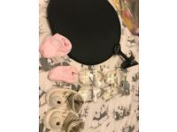 Baby bundle shoes, buggy shade, car baby mirror, avent temperature thermometer and swimming mats