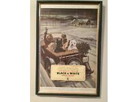 Black and white scotch whisky newspaper advertisement in frame