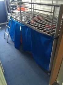 Silver mid sleeper Lucus bed with blue tent and mattress