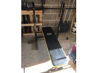 Bench press and barbell, no weights