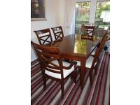 WALNUT DINING ROOM TABLE and 6 CHAIRS (inc 2 CARVERS)