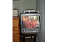 """Portable 14"""" Television with integrated Video Player plus Freeview Box, Remote and Cables"""