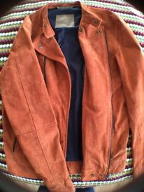 Zara Men's Suede 'Peccary' Biker Jacket (100% Leather) - Size S