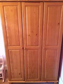 Sol antique pine 3 door wardrobe. £90
