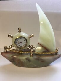PURE 1 PIECE MARBLE BOAT WITH CLOCK.