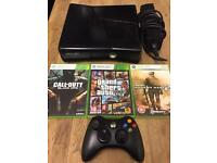 Xbox 360 slimline 250gb black 3 top games 1 wireless pad great condition
