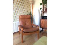 Mid twentieth century lied Molber Norwegian leather reclining chair