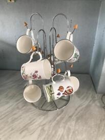 Mug tree and 8 bone China mugs