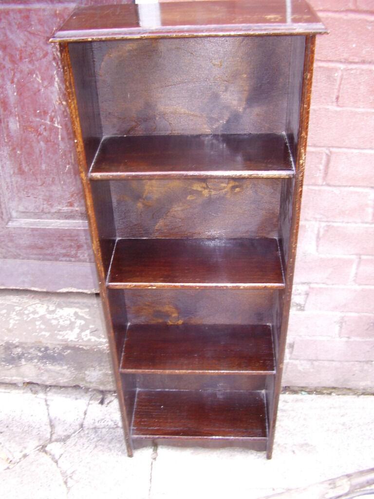 Small Dark Wooden Bookshelf Real Wood 4 Shelves