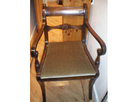 ANTIQUE ANTIQUE DINING CHAIRS - SIX QUALITY ANTIQUE SOLID MAHOGANY, c1820. FINE CONDITION.