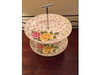 Vintage Weatherby - Falcon Ware - Rose Pattern 2-Tier Cake Stand.
