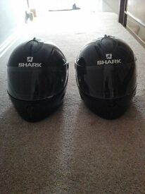 Shark s800 full faced black helmets.