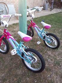 """Two- girls bikes 16"""" wheels Ammaco Misty BMX"""