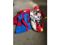 Spider-Man dressing gown & dangermouse onesie - age 6-7