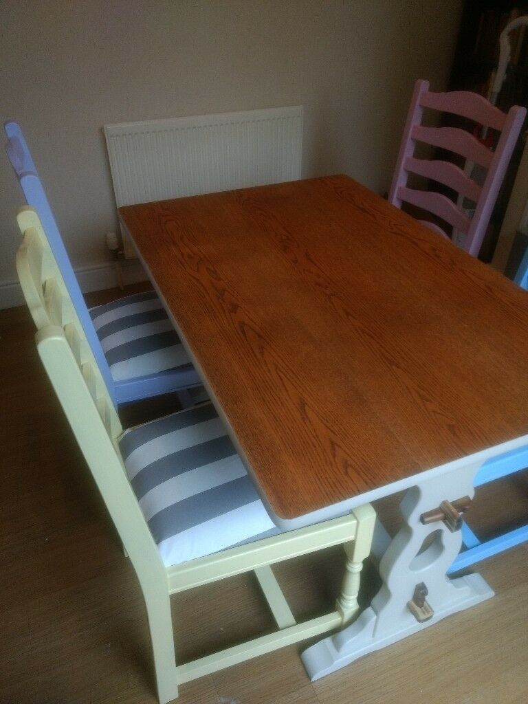 quotthe rustic furniture brings country. Shabby Chic Solid Dining Table And 4 Chairs - Rustic Colourful Farmhouse Quotthe Furniture Brings Country