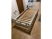 IKEA Bed frame with slatted bed base, with 2 Guard rail, white70x160 cm