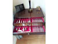 Cutlery set and drawer unit, silver plated/stainless steel
