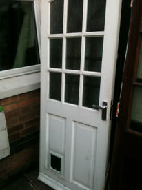 Exterior hardwood door with frosted glass squares and cat flap