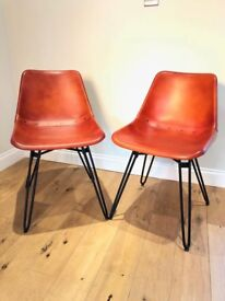 Made Kendal Dining Chairs in Tan Leather with Hairpin legs RRP £249 per pair. 8 Available!