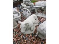 Concrete Cow and Calf Garden Ornament