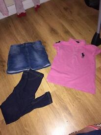 Girls Ralph Lauren top, skirt and leggings age 6 8 & 9