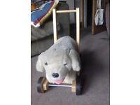 Push along/ ride on fluffy dog toy