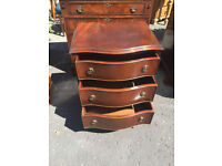 Fabulous Petite Antique Mahogany Bow Front Chest of Drawers