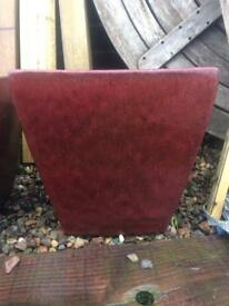 2 x large square dark brown ceramic frost resistant plant pots.
