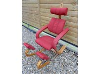 Natural Ash Wood Red Fabric BALANS type Kneeling Recliner Chair