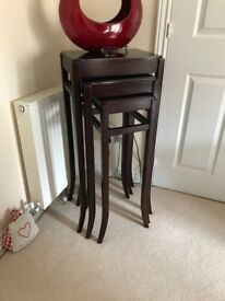 Antique style mahogany High line nest of tables 40 x30 x91cm high,