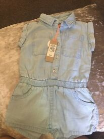 Brand New River Island Baby Girl 6-9 Months Denim Playsuit