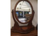 LOvely Oval antique walnut dressing mirror