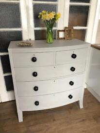 """Large Victorian bow front chest Free Delivery Ldn """"light grey"""" large chest of drawers"""