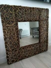 Wooden Large woven mirror
